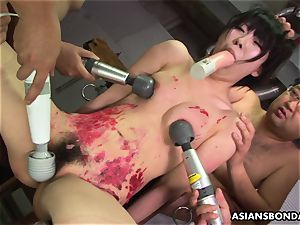 asian whore loves to be bdsm handled to a wax showcase