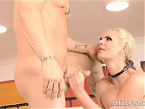 MILFGonzo ample light-haired cougar Phoenix Marie gets anally ravaged