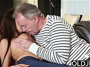 old stiffy inserts innate stunner with wiggling enormous boobs