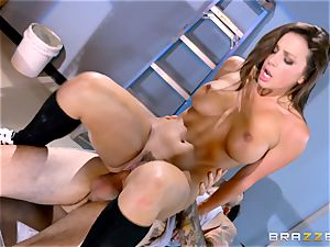 saucy schoolgirl Abigail Mac smashes in the janitors apartment