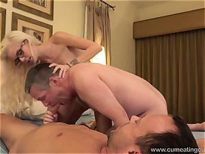 Halle Von and Her Cuck hubby Take Turns gargling hard-on