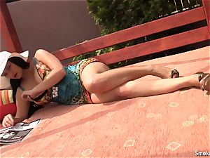 Natalie outdoor smoking break