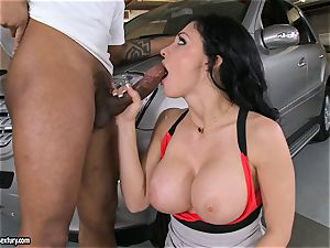 fantastic Aletta Ocean plays with a ebony meatpipe in her slippery torrid facehole