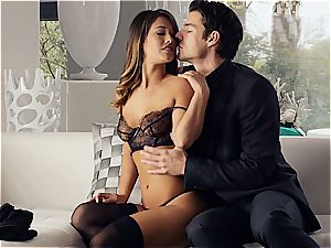 sumptuous Eva Lovia is instructing her beau some manners before the soiree