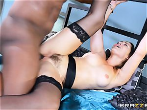 Dani Daniels takes this hefty ebony cock with relief