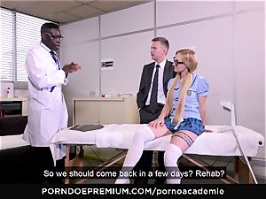 pornography ACADEMIE - rectal 3 way with blonde college girl