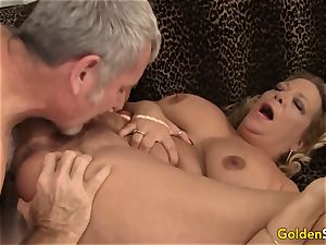 granny takes a phat manhood and jizz in her jaws