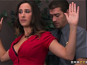 Ashley Adams gets poked by two cops